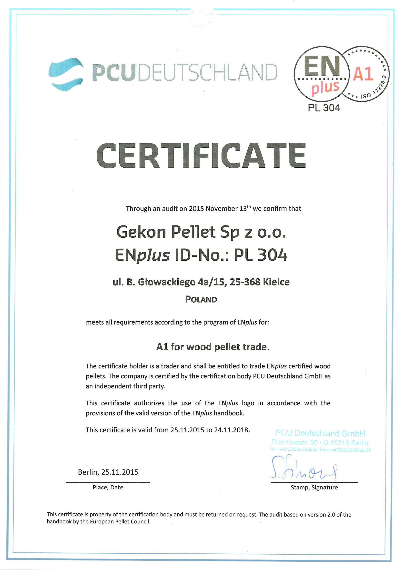 Zertifizierung ENplusA1